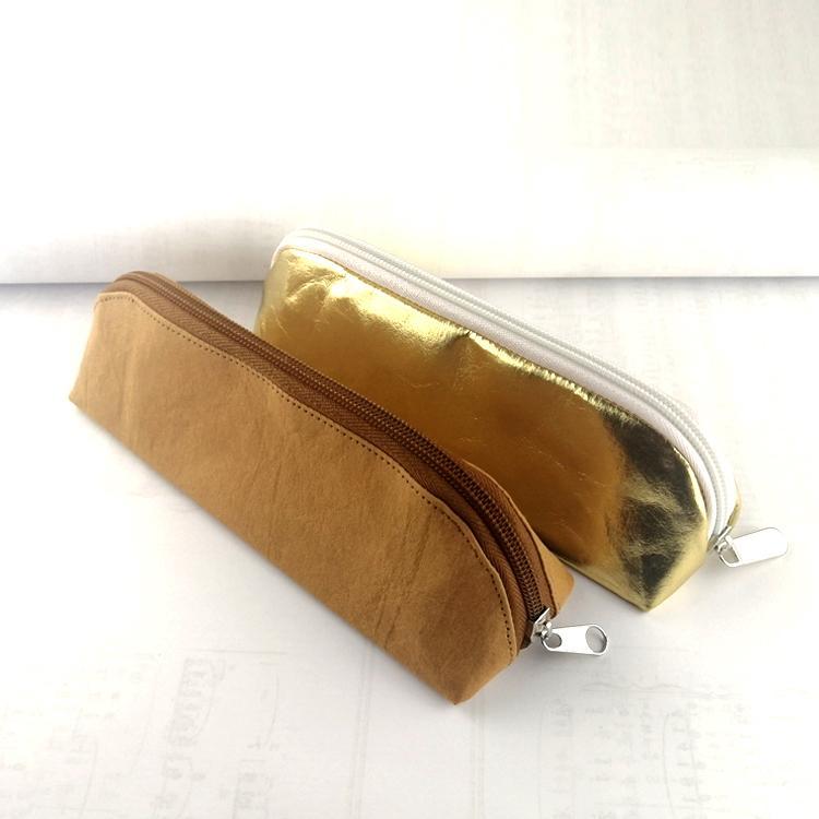 牛皮纸笔袋 环保耐用金色文具铅笔袋 纯色简约化妆收纳袋可印logo 1