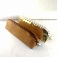 牛皮纸笔袋 环保耐用金色文具铅笔袋 纯色简约化妆收纳袋可印logo