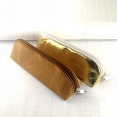Brown paper Pencil case Green durable gold stationery pencil case