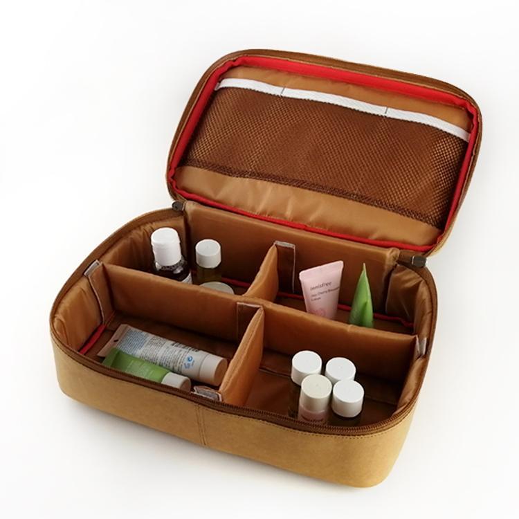 水洗牛皮紙化妝袋 多功能牛皮紙化妝包 簡約大容量純色化妝收納袋 4