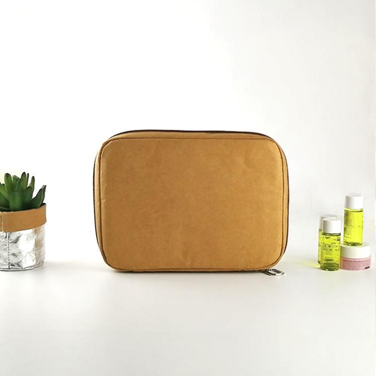 水洗牛皮紙化妝袋 多功能牛皮紙化妝包 簡約大容量純色化妝收納袋 3