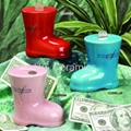 Boot shaped coin bank,ceramic