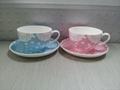 Fine bone china coffee mug with saucer