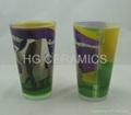 16oz sublimation galss mug with white panel