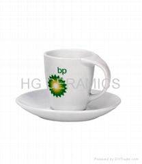 Porcelain espresso cup and saucer, twist handle