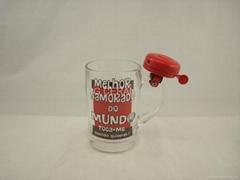glass mug , glass mug with bell