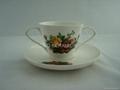fine bone china double handle mug  with saucer