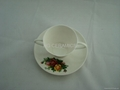 fine bone china double handle mug  with saucer