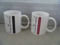 11oz battery color change mug ,thermometer color change mug