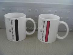 11oz battery color change mug ,thermometer color change mug