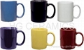 white mug with color rim&handle ,two tone mug