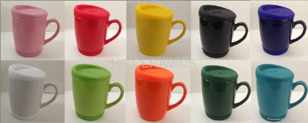 10oz Coffee Mug With Silicone Lid And Bottom Hg Ceramics