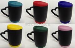 Black color change mug  with silicon lid and bottom