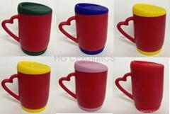 Red color change mug  with silicon lid and bottom
