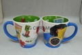 12oz latte mug with inside full printing    12oz latte mug with blue handle