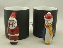 Santa Claus Handle color change mug , Penguin handle color change mug