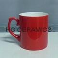 Red color change bone china mug ,Glossy finished