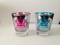 Metallic glass mug ,inside color outside laser logo,   outside metallic color
