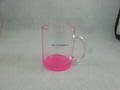 11oz  glass mug , 11oz clear glass mug with color bottom