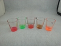 1.5oz  shot glass  ,  glass mug with color bottom