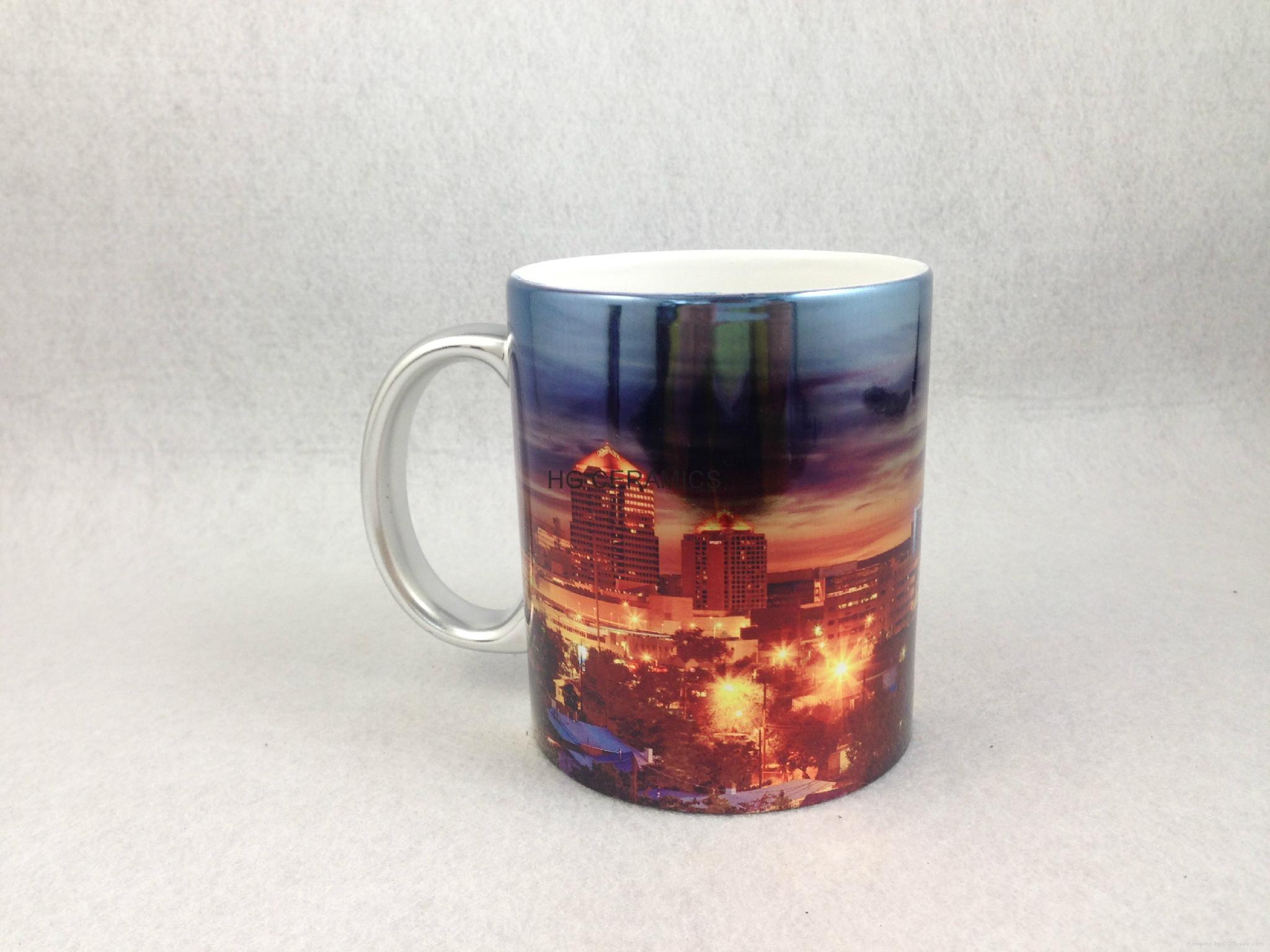 Sublimation siliver color mug , with printing  1