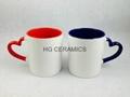 11oz  heart handle mug , inner & handle
