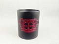 11oz  mug  with red color   laser logo