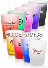 Spray color  shot  glass mug , Frosted