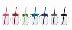 16oz mason jar with handle and  color lid , glass mug ,