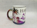 HAWAII design glass mug , white color glass mug , plating mug
