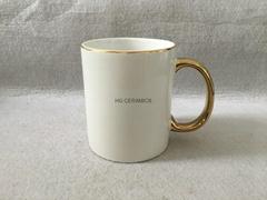 11oz Sublimation  rim &handle gold color mug
