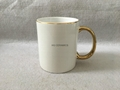 11oz Sublimation  rim &handle gold color mug