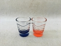 1.5oz  shot glass  , wave glass mug with color bottom