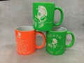 11oz neon color mug with sandblasted logo