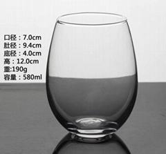 580ml egg shape glass mug with frosted sublimation coating