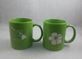 11oz green color  mug with laser logo