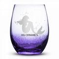Ice Flower  Wine Glass   Purple color