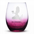 Ice Flower  Wine Glass   Red Color