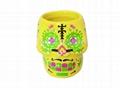 Ceramic Skull mug ,Yellow color
