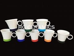 Ring handle mug with silicone bottom