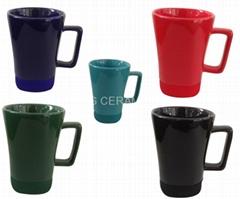 ceramic mug with square silicon bottom