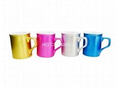 metalic color mugs,pearl finished heart handle mug