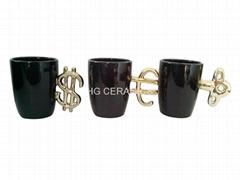 coffee mug with gold handle