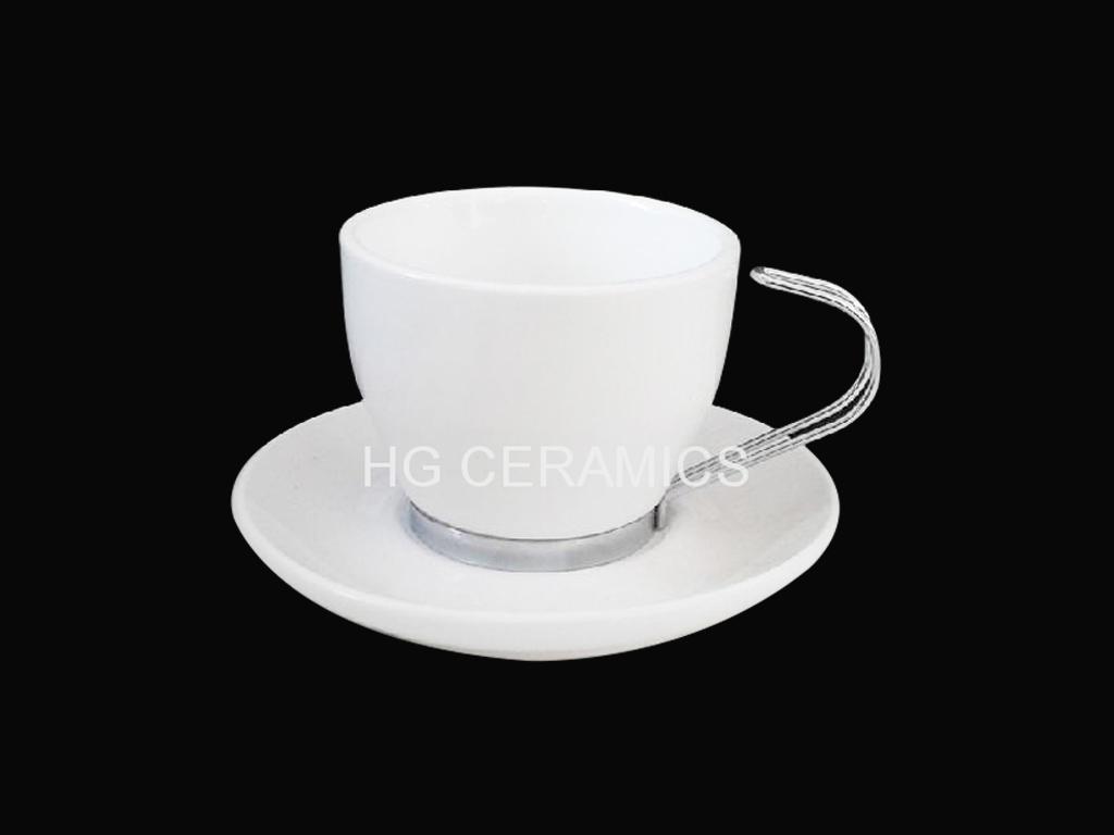 coffee mug with stainless steel  hand and bottom  1