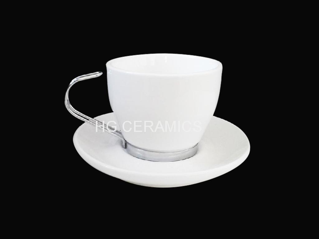 coffee mug with stainless steel  hand and bottom  3
