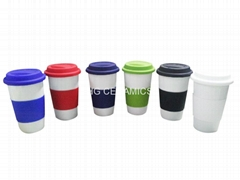 Thermal Procelain cup with silicone lid and sleeve