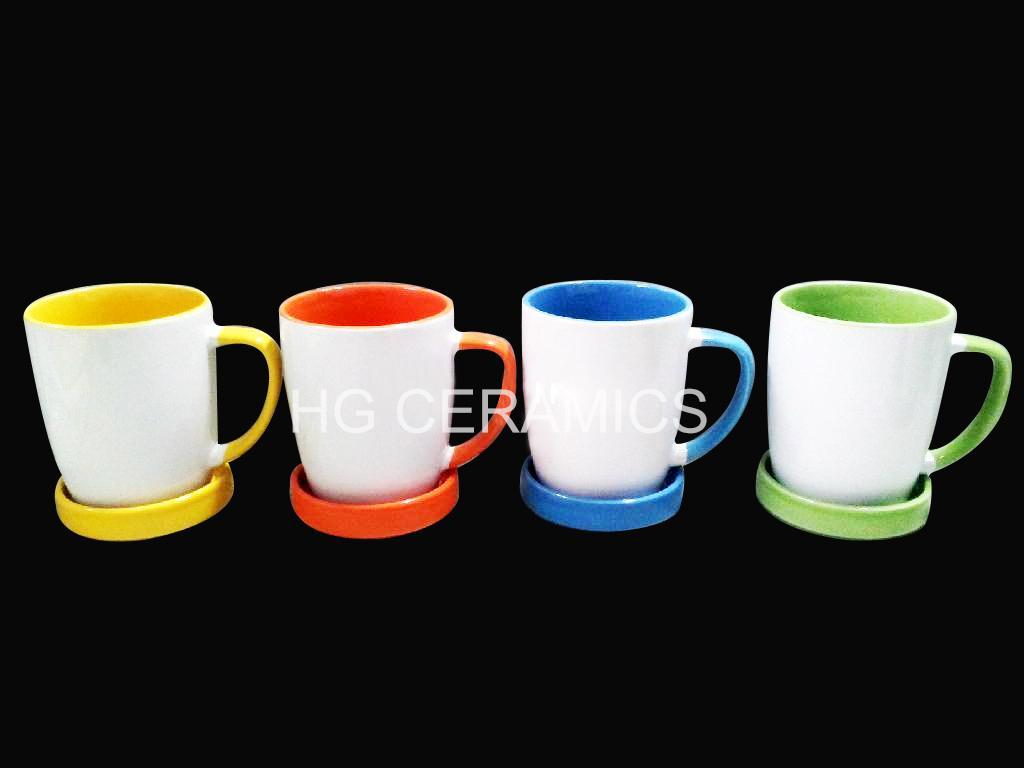 300ml ceramic mug with coaster , mug with lid  2