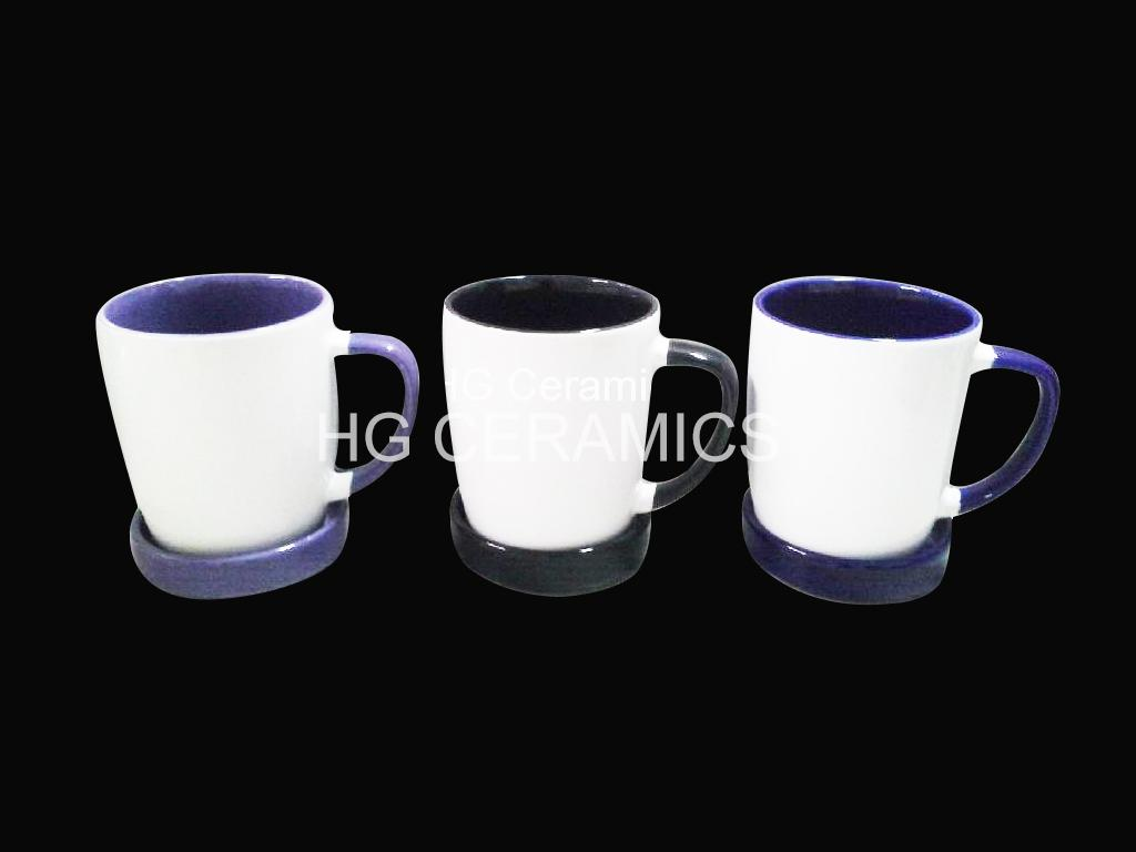 300ml ceramic mug with coaster , mug with lid  3