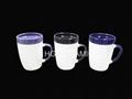 300ml ceramic mug with coaster , mug with lid  4
