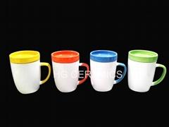 350ml Ceramic mug with coaster, ceramic mug with lid